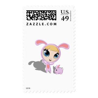 Tilly and Creampuff the Rabbit Postage Stamps