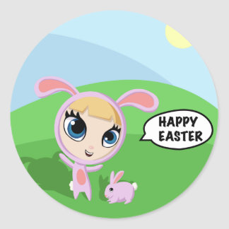 Tilly and Creampuff the Rabbit Classic Round Sticker