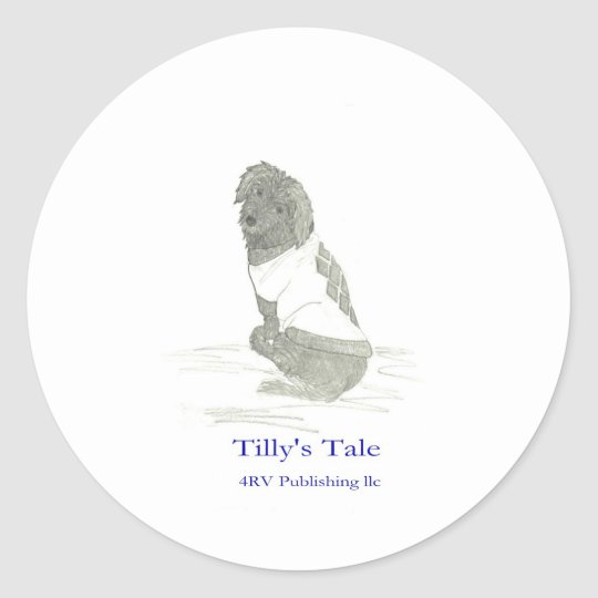 Tilly in sweater, 4RV Publishing llc Classic Round Sticker