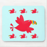 Tilly the Red Toucan Cute Cartoon Bird Mouse Pad