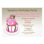 Tilted Cake Surprise Birthday Invitation
