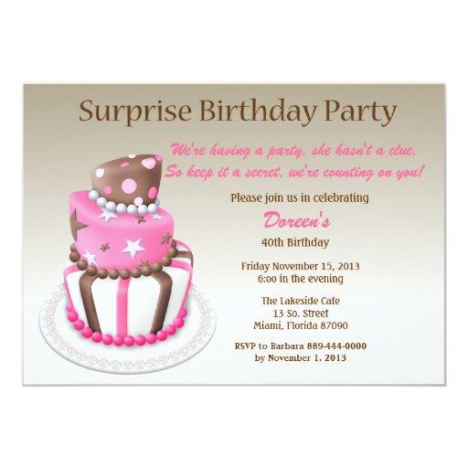Tilted Cake Surprise Birthday Invitation | Zazzle