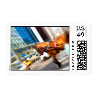 Tilted Central Park Horse Abstract Postage Stamp