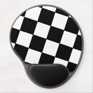 Tilted Checkerboard Pattern Checkers Black White Gel Mouse Pad