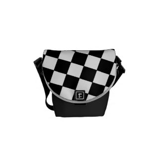 Tilted Checkerboard Pattern Checkers Black White Courier Bags