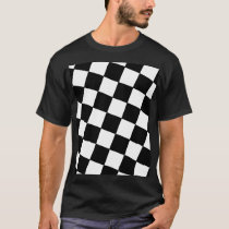 Tilted Checkerboard Pattern Checkers Black White T-Shirt