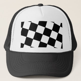 Tilted Checkerboard Pattern Checkers Black White Trucker Hat