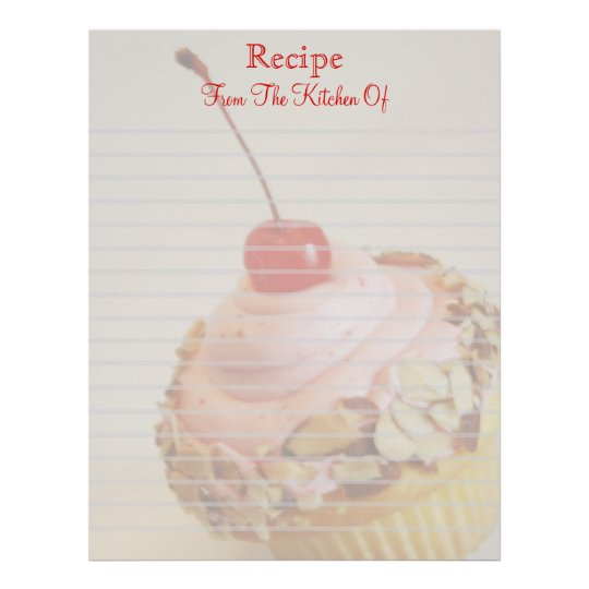Tilted Cherry Cupcake Lined Recipe Letterhead