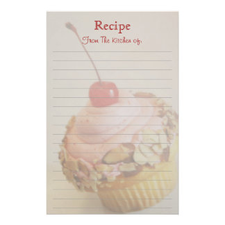 Tilted Cherry Cupcake Lined Recipe Stationery