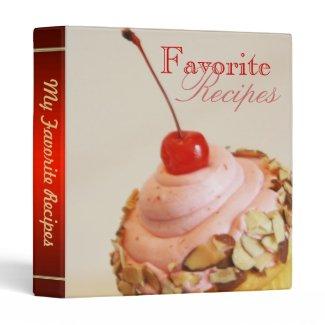 Tilted Cherry Cupcake Sweet Desert Recipe Binder