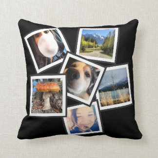 Tilted Cool  6 Instagram Photo Collage Throw Pillow