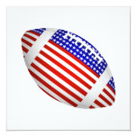 """Tilted Football With American Flag Design (1) 5.25"""" Square Invitation Card"""
