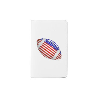Tilted Football With American Flag Design (1) Pocket Moleskine Notebook