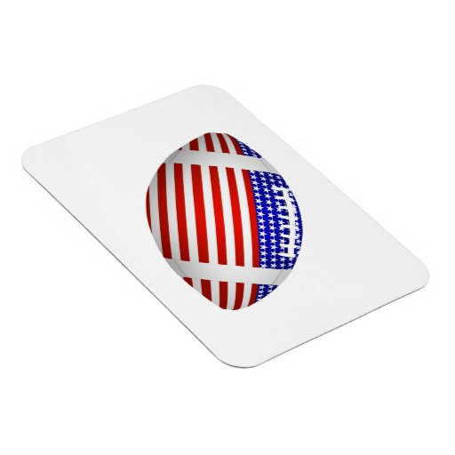 Tilted Football With American Flag Design (1) Flexible Magnets