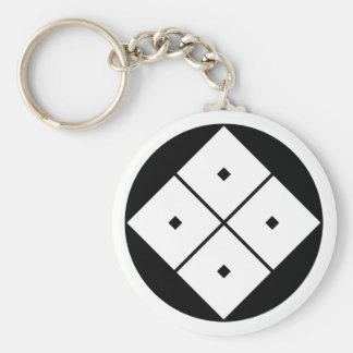 Tilted four-square-eyes in rice cake keychain