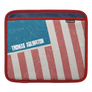 Tilted Grunge American Flag Sleeve For iPads