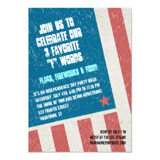 Tilted Grunge Flag Independence Day Party Card