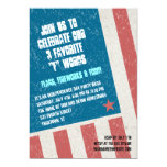 Tilted Grunge Flag Independence Day Party Invites