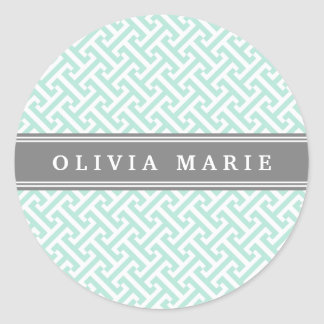 Tilted Mint Green Greek Key Pattern with Name Classic Round Sticker
