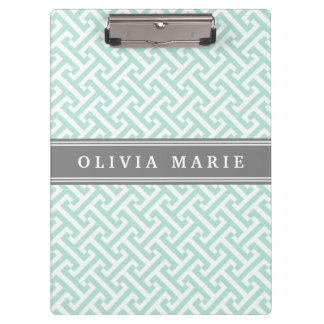 Tilted Mint Green Greek Key Pattern with Name Clipboard