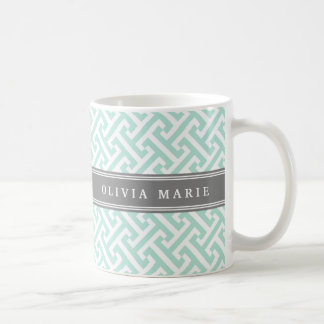 Tilted Mint Green Greek Key Pattern with Name Coffee Mug