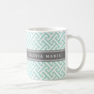 Tilted Mint Green Greek Key Pattern with Name Coffee Mug