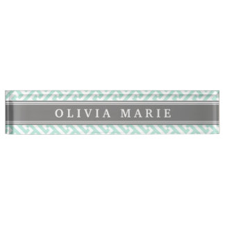 Tilted Mint Green Greek Key Pattern with Name Desk Name Plate