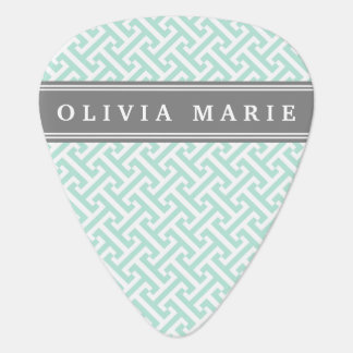 Tilted Mint Green Greek Key Pattern with Name Guitar Pick