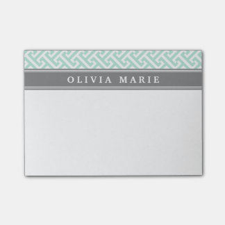 Tilted Mint Green Greek Key Pattern with Name Post-it® Notes