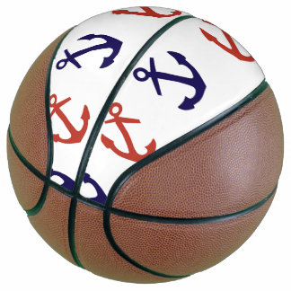 Tilted Nautical Anchor Pattern Basketball