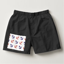 Tilted Nautical Anchor Pattern Boxers