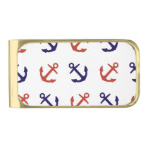 Tilted Nautical Anchor Pattern Gold Finish Money Clip