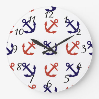 Tilted Nautical Anchor Pattern Large Clock