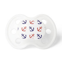 Tilted Nautical Anchor Pattern Pacifier