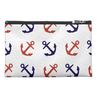 Tilted Nautical Anchor Pattern Travel Accessory Bag