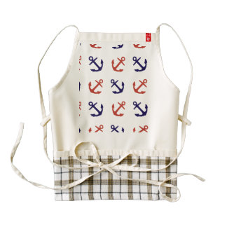 Tilted Nautical Anchor Pattern Zazzle HEART Apron