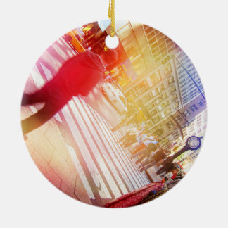 Tilted NYC Scene with Light Leaks Ceramic Ornament