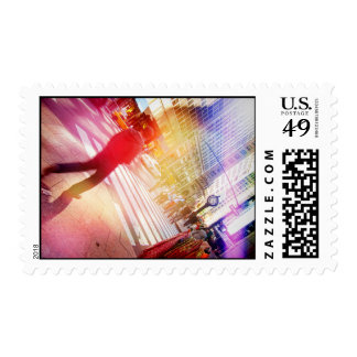 Tilted NYC Scene with Light Leaks Postage Stamp