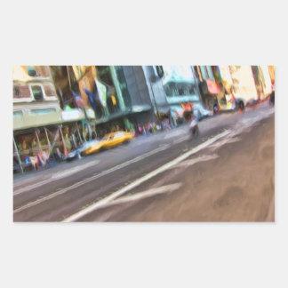 Tilted NYC Street Abstract Rectangular Sticker