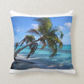 Tilted Palm trees - white Throw Pillow