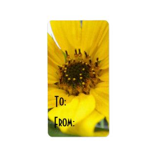 tilted sunflower label