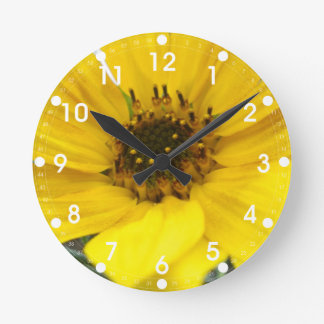 Tilted Sunflower Round Wall Clocks
