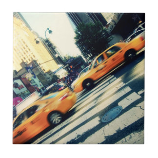 Tilted Taxis NYC Ceramic Tile