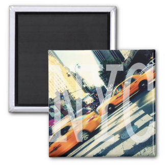 Tilted Taxis NYC Logo Square Magnet