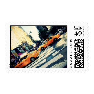 Tilted Taxis NYC Postage Stamp