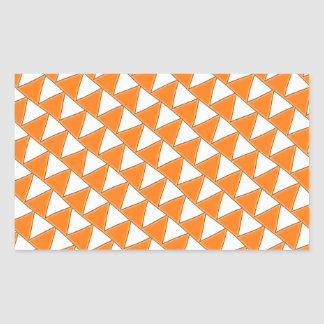Tilted Triangles in Orange and White Rectangular Sticker