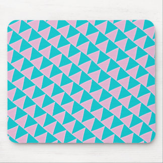 Tilted Triangles Pink and Teal Blue Pattern Mouse Pad