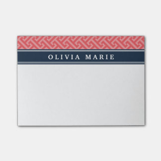 Tilted Watermelon Pink Greek Key Pattern with Name Post-it Notes