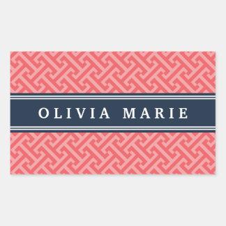 Tilted Watermelon Pink Greek Key Pattern with Name Rectangular Sticker