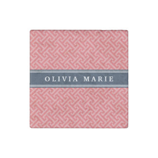 Tilted Watermelon Pink Greek Key Pattern with Name Stone Magnet